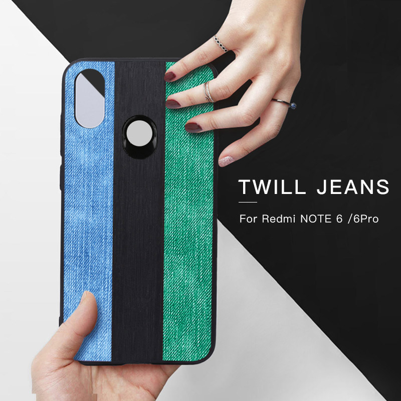 MOFI Original Jeans Canvas Phone Case For Xiaomi Redmi Note 6 Pro Soft Back Cover Shell
