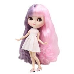 Gelo fortuna dias fábrica boneca azone corpo comum 30cm pele branca bonito rosa e roxo cor mista cachos diy sd presente brinquedo