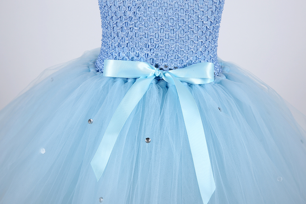 Cute Froze Child Princess Christmas Snow Queen Dresses Elza Costumes Girls Flower Pearls Party Tutu Dress (6)