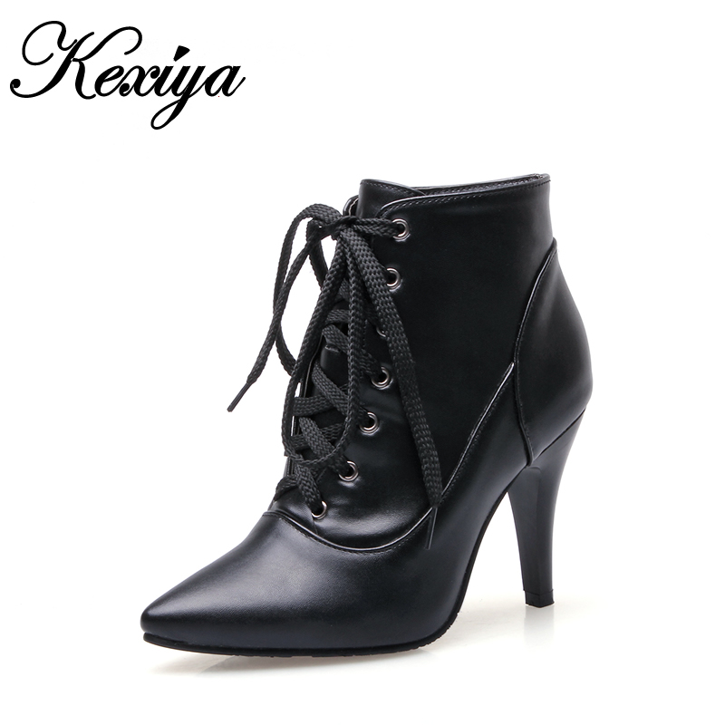 Solid PU fashion Winter women black short boots sexy thin heel high heels Big size 32-48 Pointed Toe ladies Lace-Up Ankle boots 2016 fashion winter women shoes sexy pointed toe platform thin heel high heels big size 32 46 solid pu lace up ankle boots