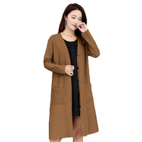 c9ad10d5f 2018 Spring Autumn New Large Size 5XL Knitted Cardigan Female Long Single  Breasted Sweater Coat Women