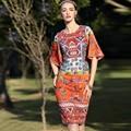 Plus size 2017 nueva primavera vestido de moda de alta calidad de algodón jacquard vintage impreso bohemio flare manga rodilla-longitud vestido