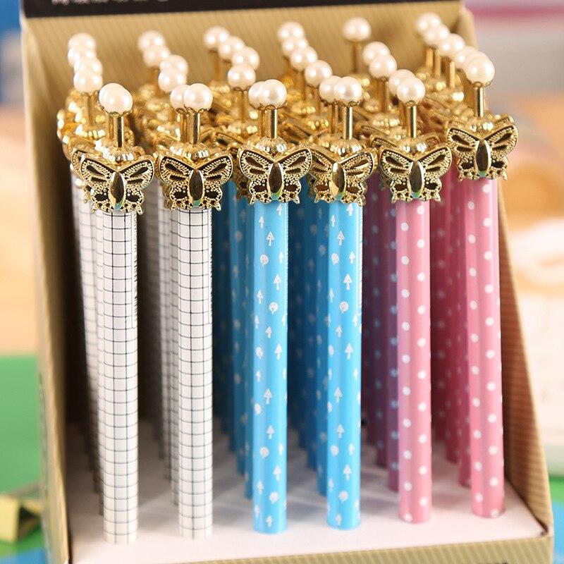 30 pièces/ensemble sans boîte papillon automatique crayon dessin animé coréen créatif papeterie 0.5/0. 7 Mm actif métal stylo en gros