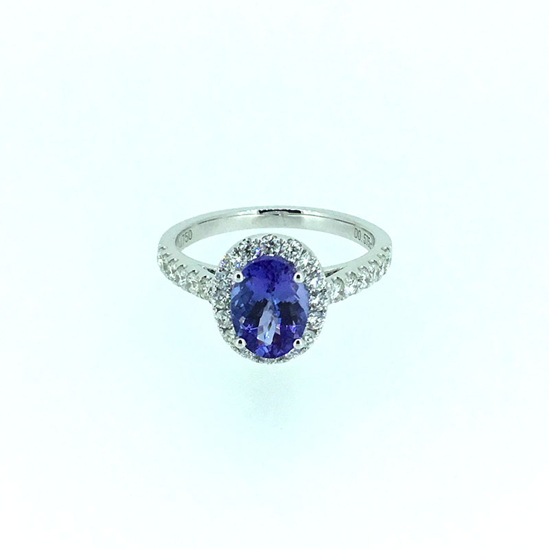 ANI 18K White Gold (AU750) Women Wedding Ring Certified I/SI 1.622 ct Oval Cut Tanzanite Diamond Halo Ring Enagement Jewelry au750 white gold ring diamond oval cut sapphire ring in 18k solid gold for sale wu261