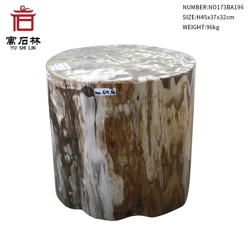 Black And Tan Polished Natural Petrified Wood Stool End Table Side Table  Modern Countryside Style Home Furniture Garden Decors In Stools U0026 Ottomans  From ...