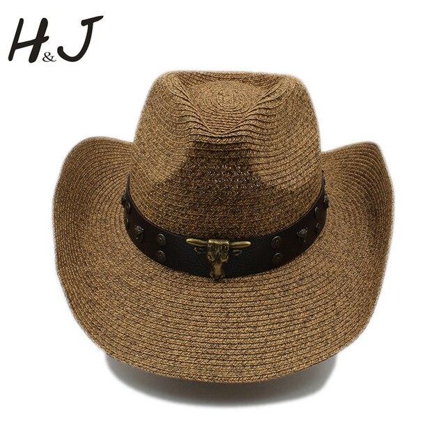 Mujeres Hombres hueco sombrero de vaquero occidental Caballero vaquera Jazz  ecuestre papá reina verano sombrero playa c3c03e5a2b5