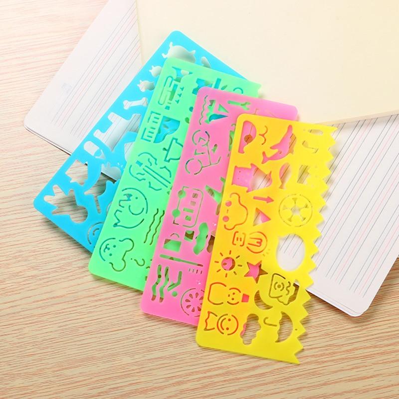 Schule & Educational Supplies 4 Teile/los Nette Kawaii Farbige Lineal Set Cartoon Vorlage Für Zeichnung Kinder Geschenk Korean Schreibwaren Büro Schule Liefert Heller Glanz Herrscher
