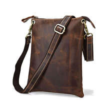 Vintage crazy horse leather mini men messenger bag genuine leather Man Shoulder bags ipad bag Brown Crossbody Bags #VP-J7118R