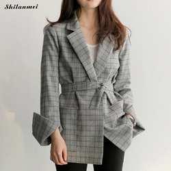 Повседневный осенний клетчатый блейзер для женщин 2018, модный элегантный костюм с длинными рукавами и поясом, куртка, зимнее пальто, офисный