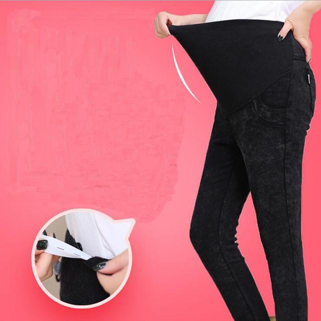 Gravidez maternidade calças de Brim Calças de Inverno Calças de Brim de Verão para Mulheres Grávidas Cintura Elástica calças de Brim Grávidas Roupa Gravidez
