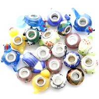 NEW 20pcs Mixed Lampwork Glass Big Hole Beads Spacer for European Charm for Bracelet Jewelry Making Hole about 5mm