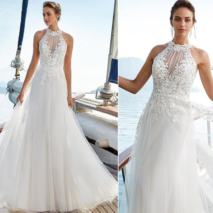 High Halter Neckline Lace Applique A line Soft Tulle Wedding Dress with Illusion Lace Button Back