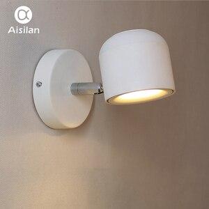 Image 2 - Aisilan duvar lambası Modern tarzı duvar lambası ayarlanabilir siyah/beyaz 7W başucu yatak odası ayna ışık koridor aplik AC90 220V