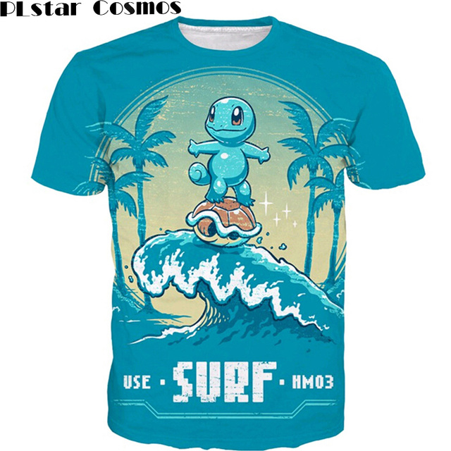 2e272d4ef1e PLstar Cosmos Cute Cartoon Pokemon t shirts Squirtle 3D t shirt Men Women  Summer Vacation tees