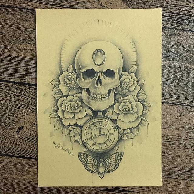 SKULL PUNK Flower Retro Kraft Paper Poster Vintage Wall Art Crafts ...