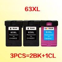 2BK + 1 FARBE tinte patronen kompatibel für 63 63xl 3630 3632 4652 4655 4522 ENVY 4516 4512 4520 4522
