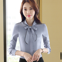 Ladies Long Sleeve Gray Light Blue White Blouse 2016 Autumn Work Wear Office OL Bow Tie