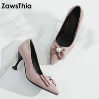 ZawsThia 2018 new lady pink slip on girl dress shoes with butterfly knot pearl high heels women stiletto pumps plus size 33 43
