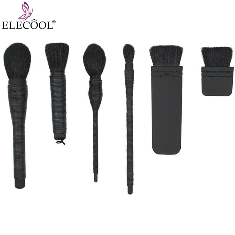 ELECOOL 1PCS Handmade Rattan Tapered Make up Brushes Black Powder Foundation Blush Goat Hair Makeup Pincel Maquiagem 7 Style