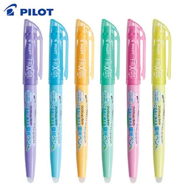 6Pcs Pilot FriXion Licht Löschbaren Highlighter leuchtstoff stift SFL 10SL 6 Weiche Farbe Tinte Schreiben Liefert