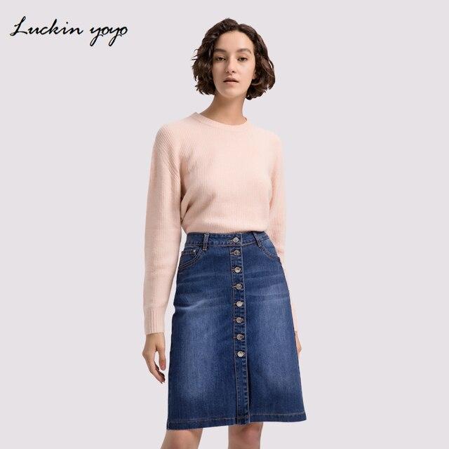 d71dc825c8 Lukin yoyo Extra Plus Size 42 9XL Women Jeans Skirts Button Up Denim Skirt  Casual Large Plus Size Feminino Women Clothing