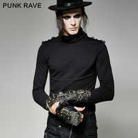 Punk Rave Rock Fashion Military Uniform Steampunk Fingerless Rivet Bronze Sleeve Gloves Motocycle S198