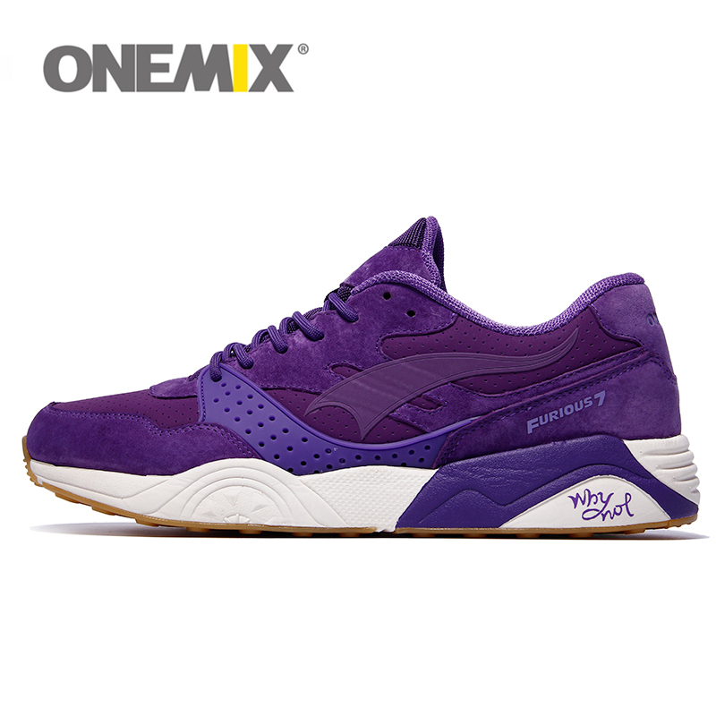 onemix Leather Running Shoes for Men Women Sneaker Breathable Lady Trainers Walking Outdoor Sport Shoes Brand Jogging onemix 2016 men s running shoes breathable weaving walking shoes outdoor candy color lazy womens shoes free shipping 1101