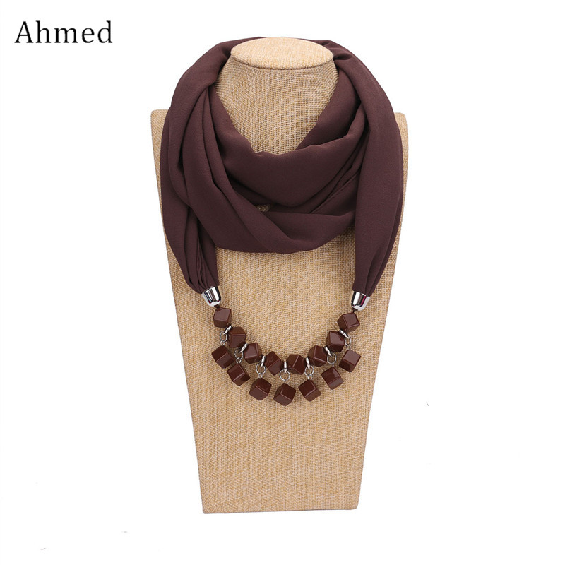 все цены на Ahmed Fashion Geometric Beads Pendant Long Maxi Scarf Necklaces for Women New Boho Collar Shawl Scarves Choker Jewelry