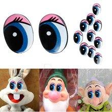 Овальные Синие безопасные пластиковые глаза игрушки куклы глаза DIY 24x18 мм 5 пар(10 шт