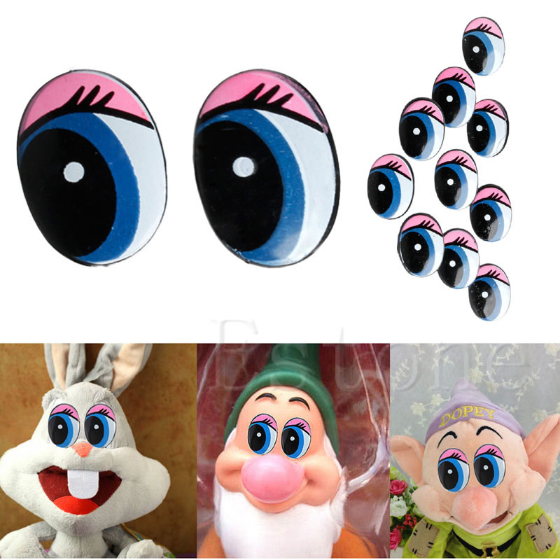 Oval Blue Safety Plastic Eyes Toy Puppets Dolls Eyes DIY 24 X 18mm  5 Pairs(10Pcs)