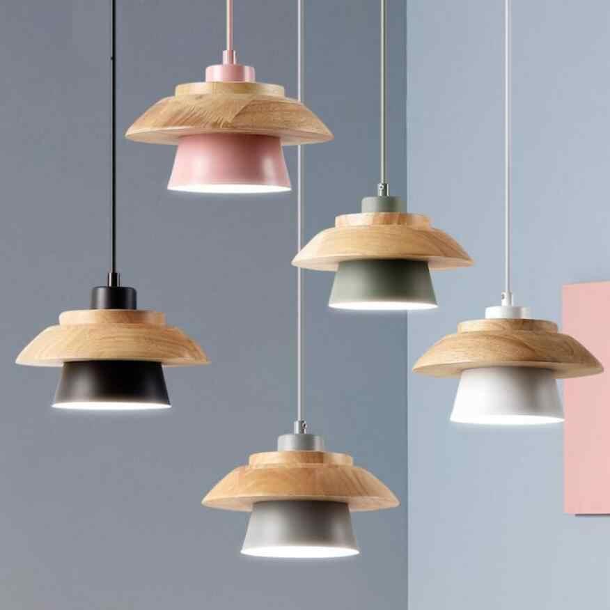 Eropa Kreatif Kecil Lampu Gantung E27 Bohlam LED Lampu Ruang Tamu Kamar Tidur Kayu Solid Lampu Gantung LED Kilau Lampu Gantung Lampu