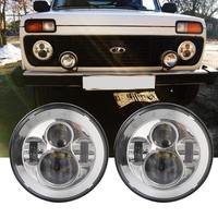 2X 7 Inch Round LED Headlights Projection Headlight Kit For UAZ 4x4 Jungle Lada 4x4 urban for Jeep JK TJ LJ Land Rover Defender