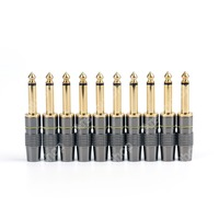 10PCS Copper 6 3mm 1 4inch Mono Jack Plug Connector For Soldering High Quality