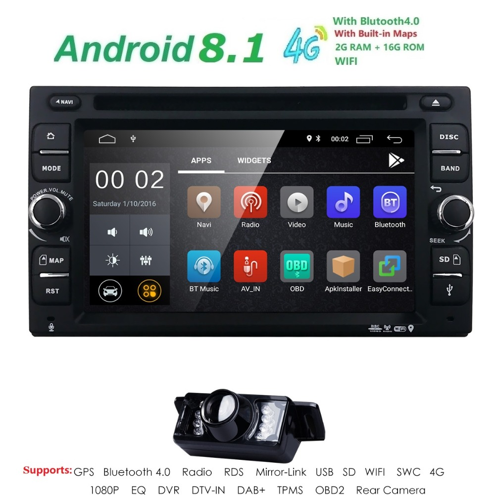 2G RAM Android 8.1 Auto Radio Ouad Core 6.2Inch 2DIN Universal Car DVD player GPS Stereo Audio Head unit Support DAB DVR OBD BT