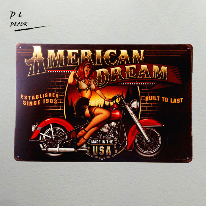 DL- American Dream Motorcycle Pin Up Girl Sign Ottima idea regalo per - Home decor