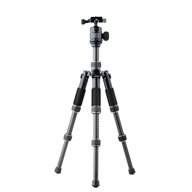 QZSD Q166C Professional Portable Travel Carbon Fiber Table Mini Tripod Monopod Stand With Ball Head For