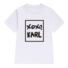 Women Cotton Casual XOXO KARL Letters Print tshirt Funny t shirt For Lady Girl Top Tee