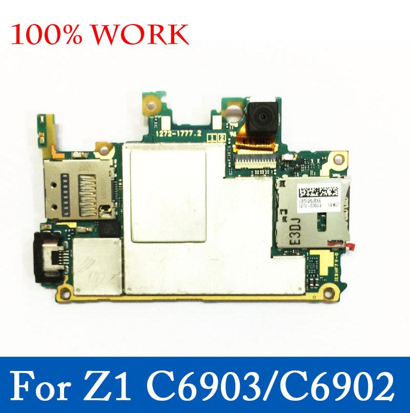 Ymitn débloqué Mobile Électronique Panneau Carte Mère Carte Mère Circuits Flex Câble Avec OS Pour Sony Xperia Z1 L39H C6903 C6902