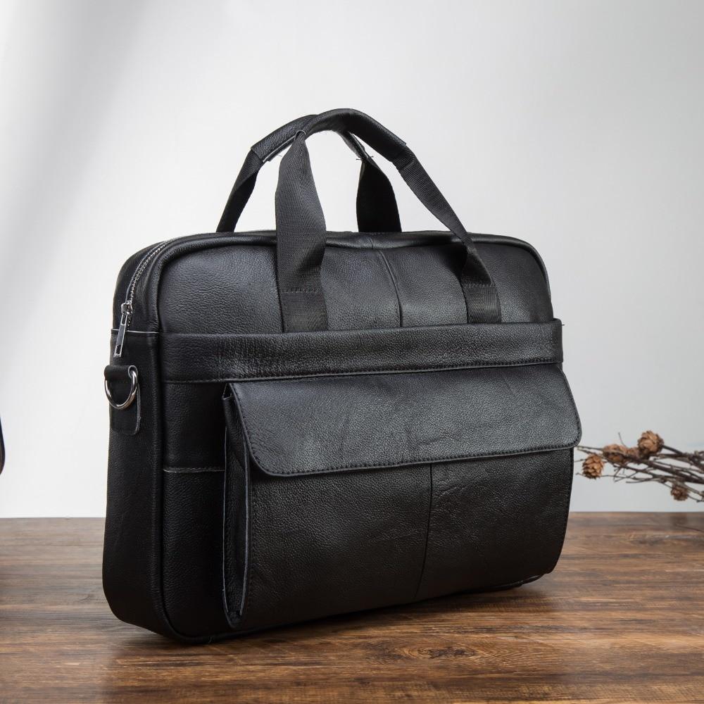 "Men Genuine Leather Antique Fashion Business Briefcase 15.6"" Laptop Case Attache Portfolio Bag Tote Travel Messenger Bag 1119b"