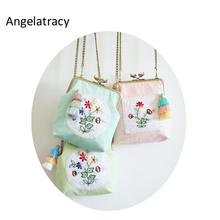 Angelatracy 2018 New Arrival Pink Floral Coin Purse Handmade Women Mini Bag Double Side Embroidery Bags with Tassel Candy Color
