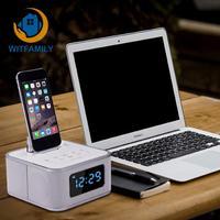 Bluetooth Speaker Led Alarm Clock With Fm Radio Usb Charging Aux Input Made For Iphone/ipod/ipad