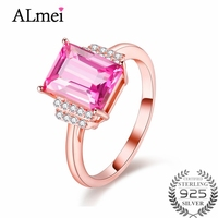 Almei 2.5ct Topaz Princess Fancy Pink Solid 925 Sterling Silver Women European Jewelry Dropshipping USA with Gift Box 40% FJ105