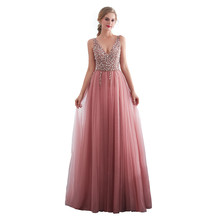 In Stock Tulle Deep V-neck Beading Long Evening Gown Floor Length Tank Prom Party Dresses Vestido de noche Robe soiree 30651