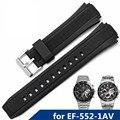 Aotu pulseiras de silicone durável pino de aço inoxidável fivela cintas para casio edifice série ef-552-1av homem faixas de relógio de borracha 25mm + ferramenta