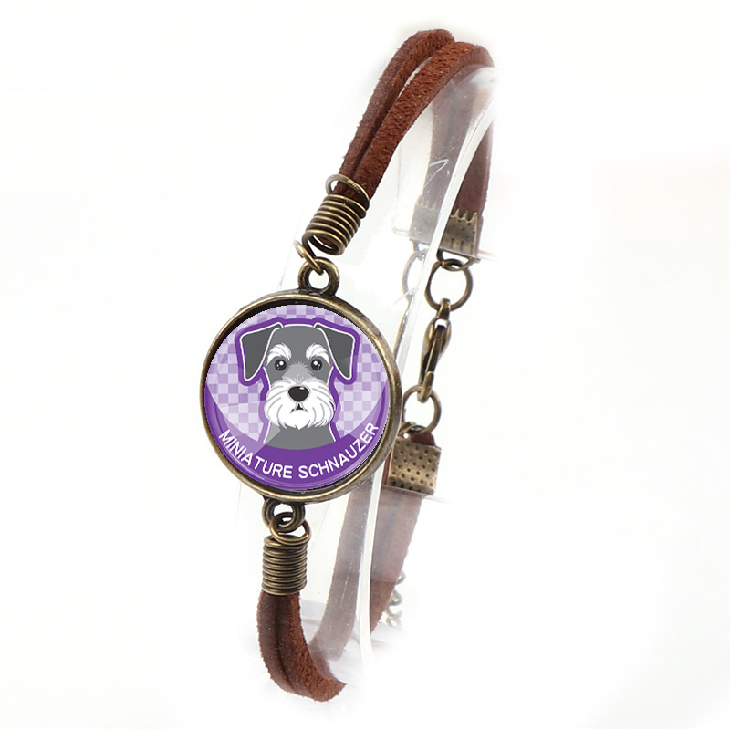 Interchangeable Vintage Metal Mixed Pet Dog Glass Cabochon Double Leather Bracelets DIY Personalized Jewelry Finding