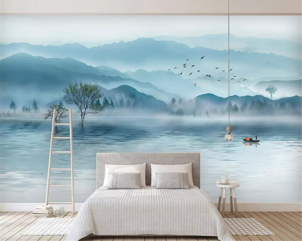 Beibehang Custom Wallpaper Mural Luxurious Atmosphere Artistic Ink Landscape Forest New TV Sofa Backdrop Wall 3d Wallpaper Tapet