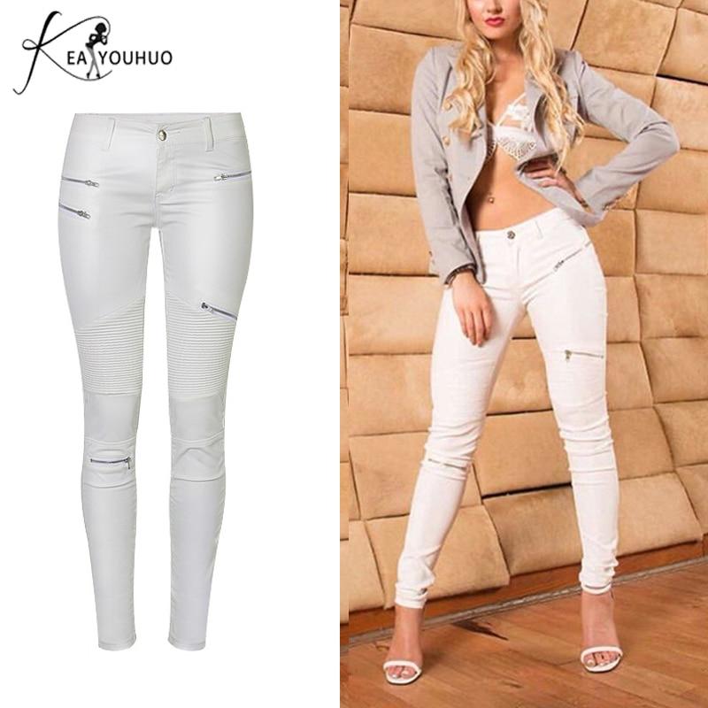 Diplomatic 2018 Winter Clothes Trousers Women Pants Faux Pu Leather Pants High Waist Stretch Pencil White Jeans For Woman Pantalon Femme
