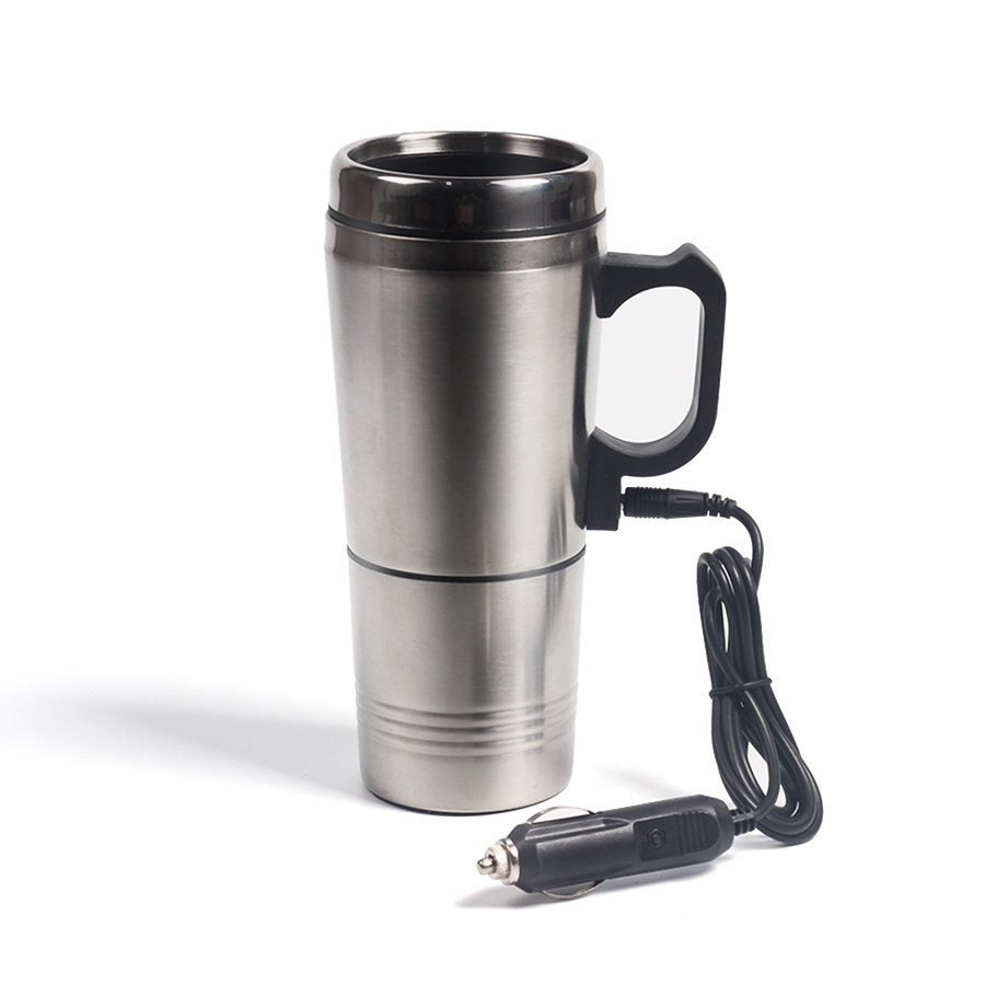 Portable Silver Stainless Steel Car Water Heating Coffee For Thermos Type Hot Drink Water Heater 12V Mini Car Electric Kettles b3 026b 26d copper brazed stainless steel big hole type plate heat exchanger for heating equipment and water chiller 7kw r22