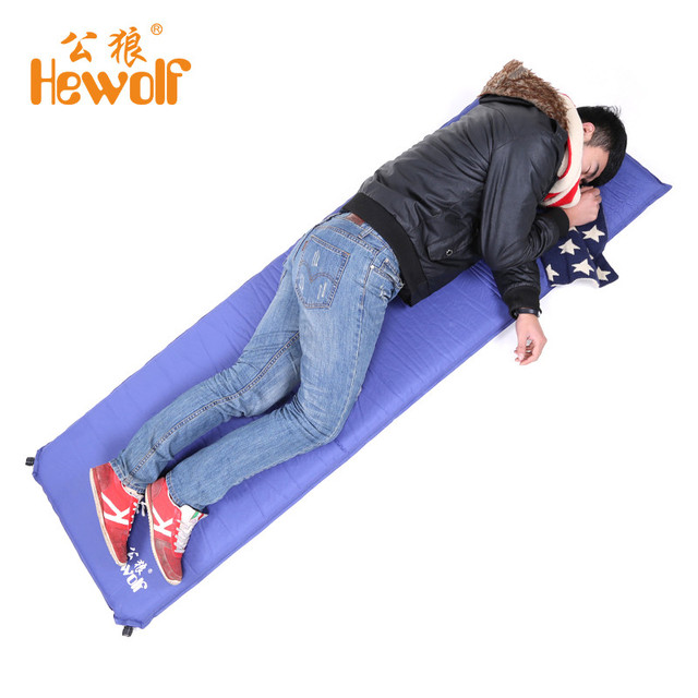 Hewolf 5cm Thickness Outdoor Automatic Inflatable Waterproof Sleeping Pad Camping Mat Travel Cushion Single Air Mattress Bed