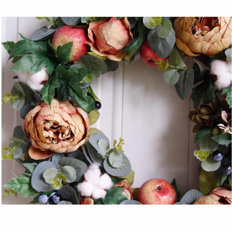 42 Cm Simulasi Mawar Berry Karangan Bunga Pernikahan Natal Pesta Dekorasi Palsu Bunga Rumah Ruang Tamu Kamar Hotel Pintu Dinding Dekorasi 1pc